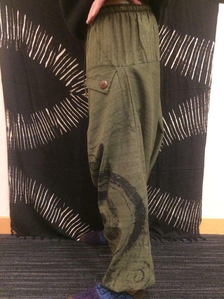 Image of Slanted Button Pocket Harem Pants