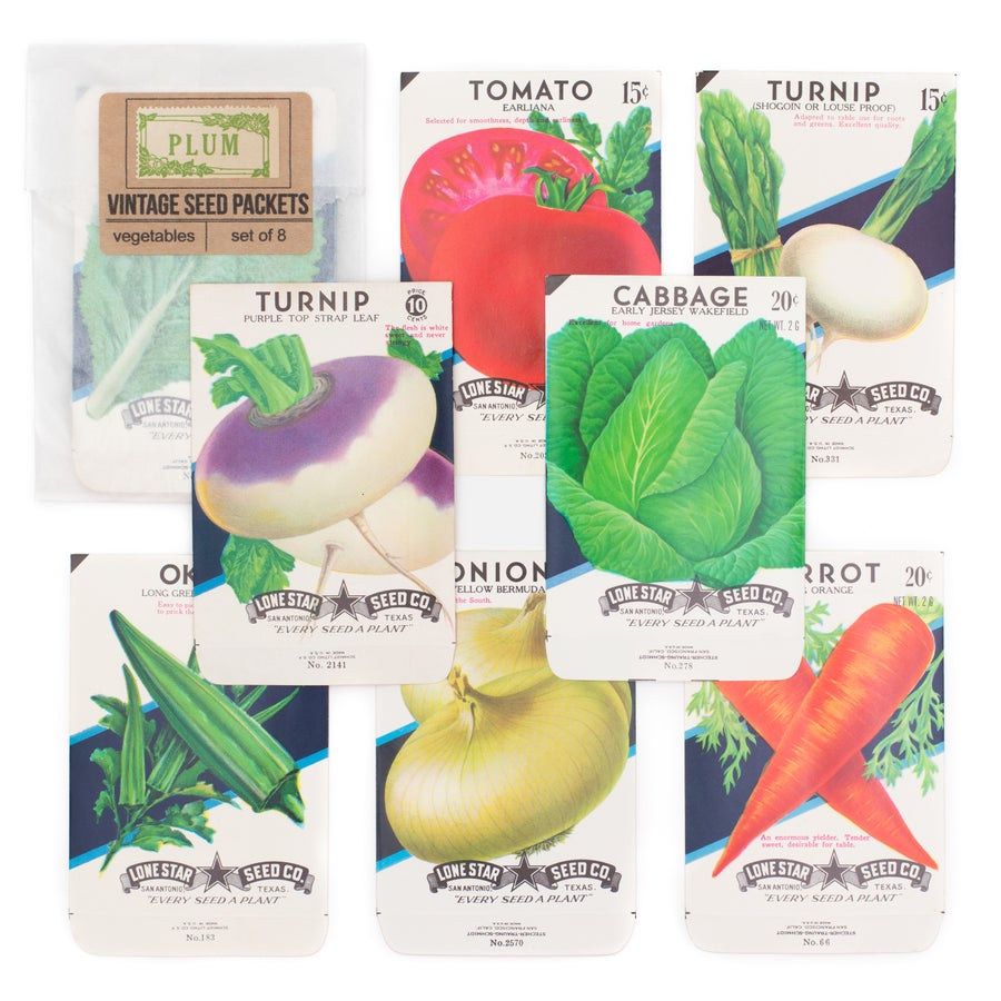 Image of Vintage Vegetable Seed Packets, No. 2 - Set of 8