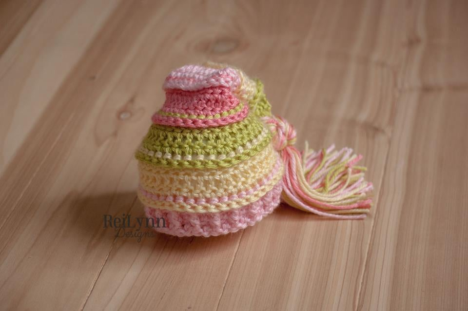 Image of Spring Sunshine Tassel Hat - Chartreuse, Baby Maize, Pink and Coral
