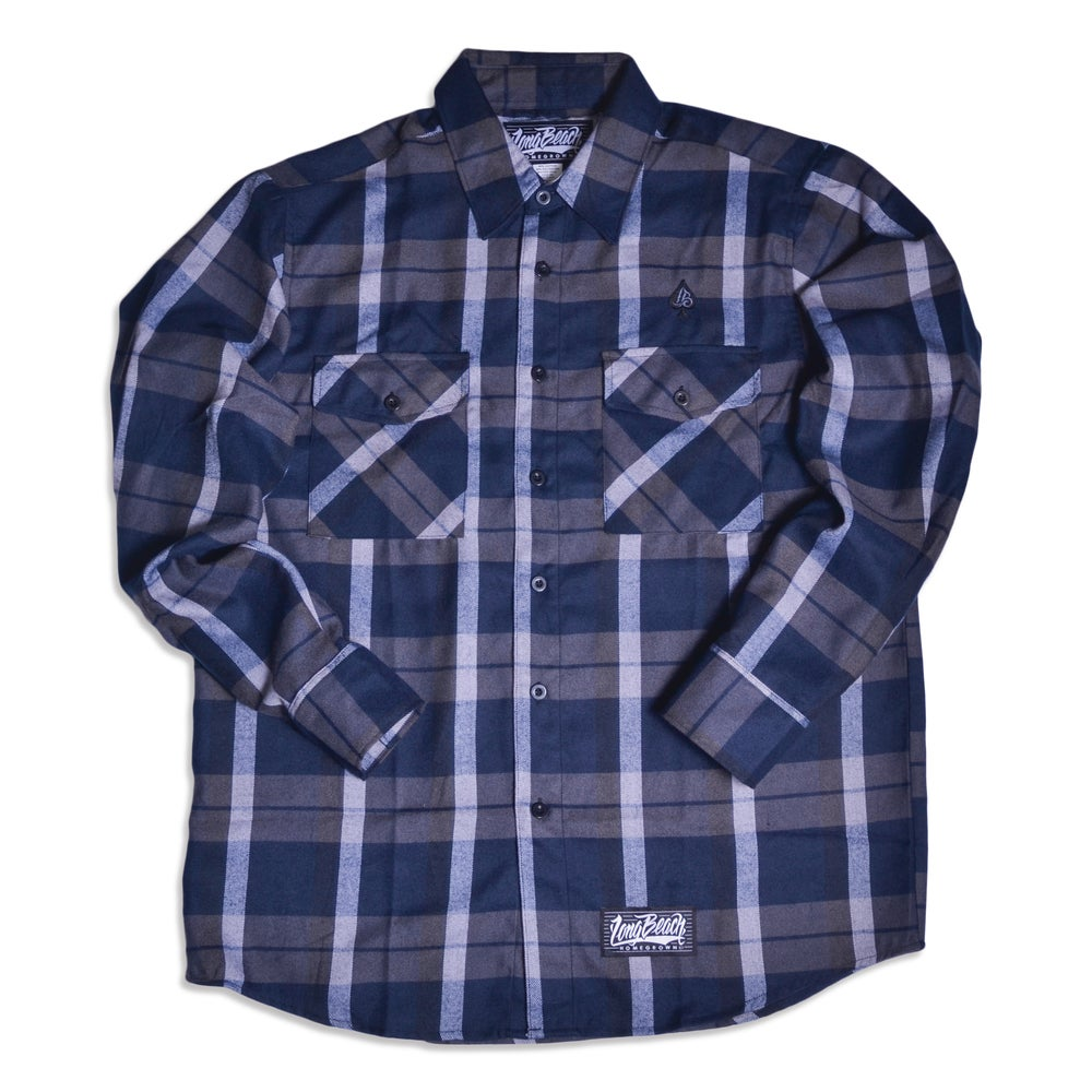 Image of THE SCRIPT NAVY FLANNEL