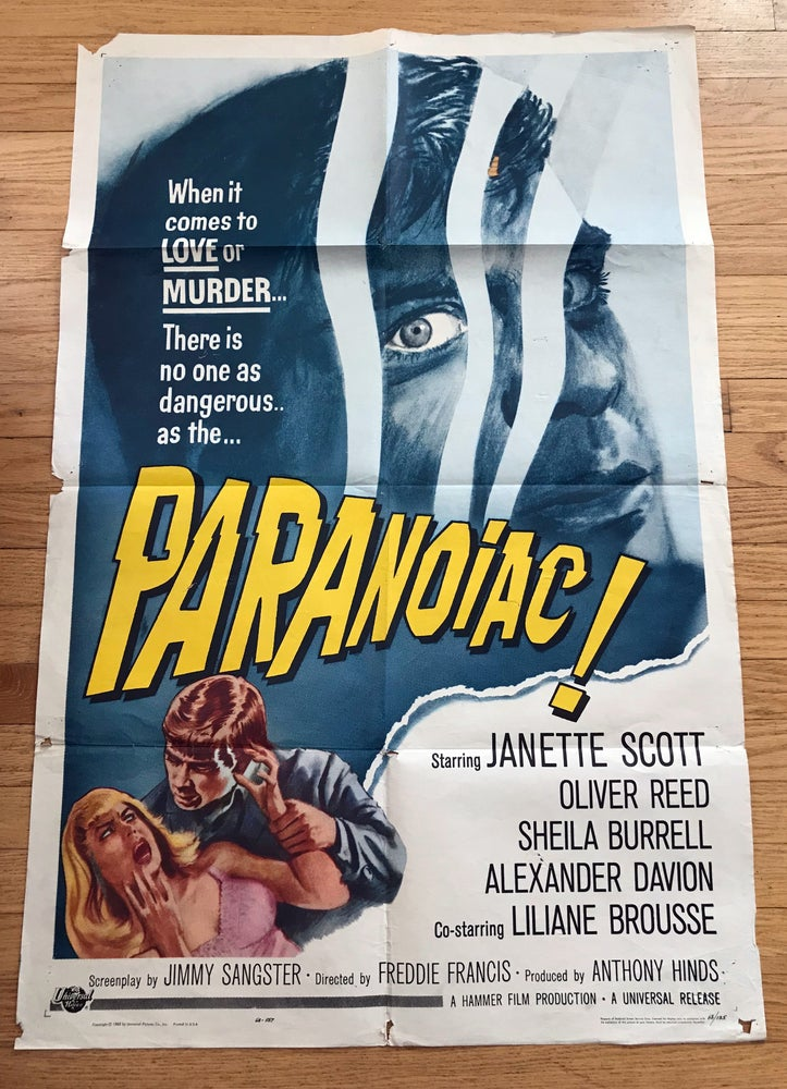Image of 1963 PARANOIAC Original U.S. One Sheet Movie Poster