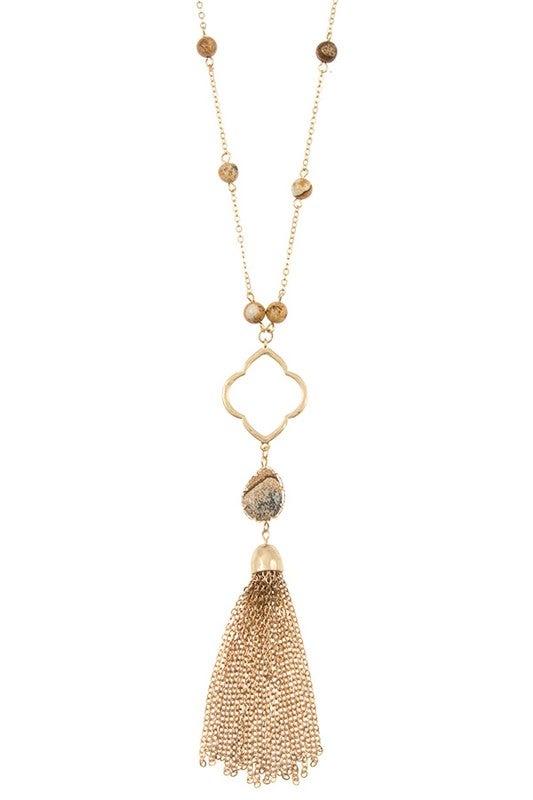 Image of Semi Precious Bead Clover Chain with Tassel