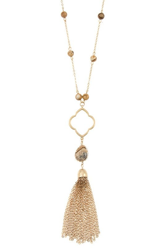 Image of Semi Precious Bead Clover Chain with Tassel