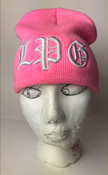 Image of pink LPG Beanie white colors