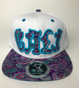 Image of CALI HAT SNAP BACK WHITE BABY BLUE COLOR
