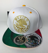 Image of MEXICO HAT SNAPBACK  WHITE & MEXICAN FLAG