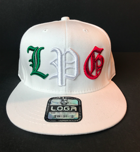 Image of WHITE HAT SNAPBACK  L P G IN MEXICAN COLORS
