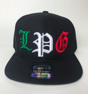 Image of BLACK HAT SNAPBACK  L P G IN MEXICAN COLORS