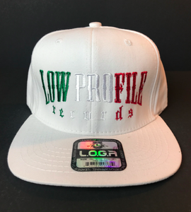Image of WHITE  HAT SNAPBACK  LOWPROFILE RECORDS IN MEXICAN COLORS