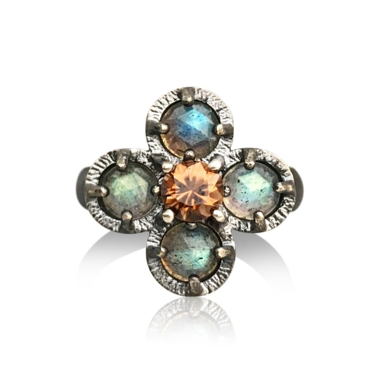 Image of juju flower ring in labradorite and golden zircon