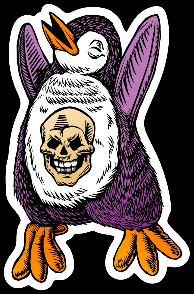 Image of Skull Penguin Sticker