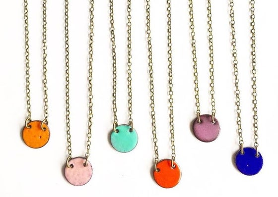 Image of Small Enamel Circle Necklace