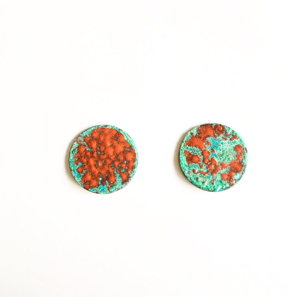 Image of Patina and Red Enamel Studs