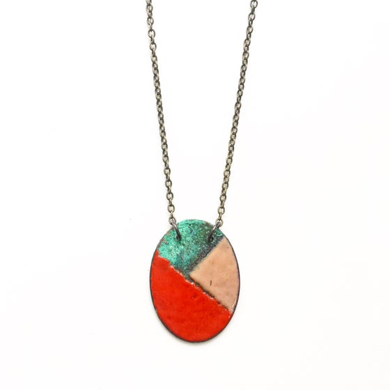 Image of Oval Enamel and Patina Necklace