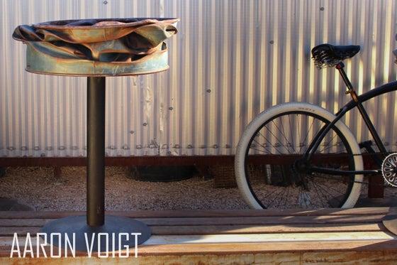 Image of Pressed Steel Drum Pedestal Planter