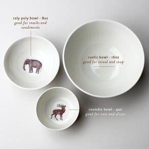 Image of roundie bowl with elephant,  ivory