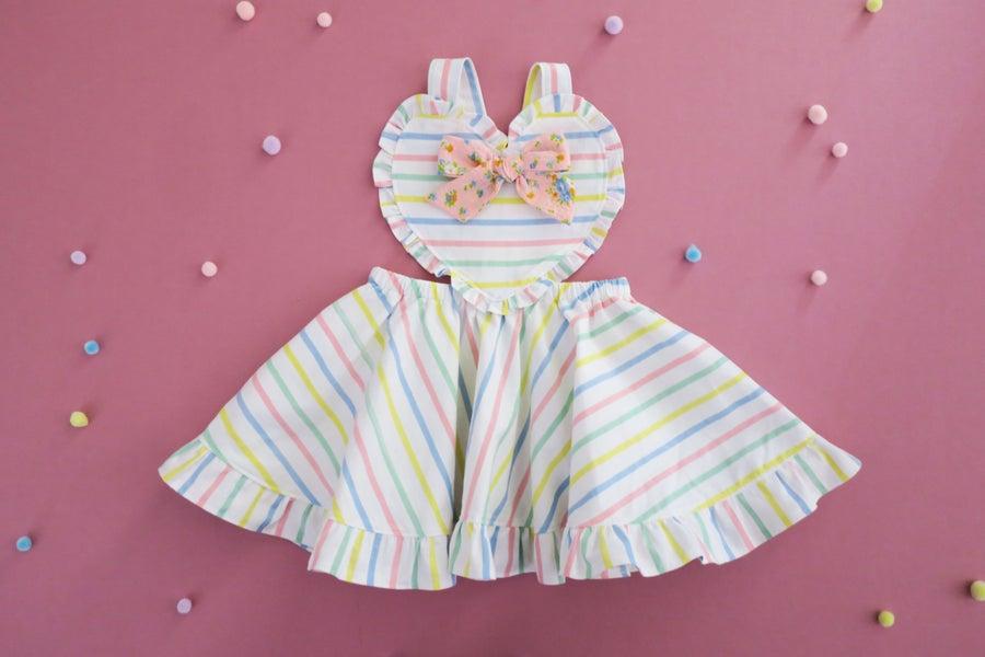 Image of Se Mari Vintage Pastel Stripe Ruffle Pinny