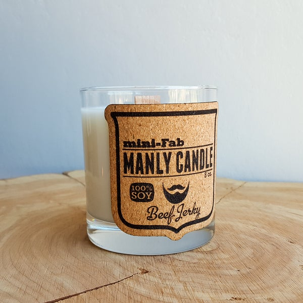 Image of Whiskey Glass Man Candle - Beef Jerky Scent - Manly Natural Soy Candle Hand Poured with Wood Wick