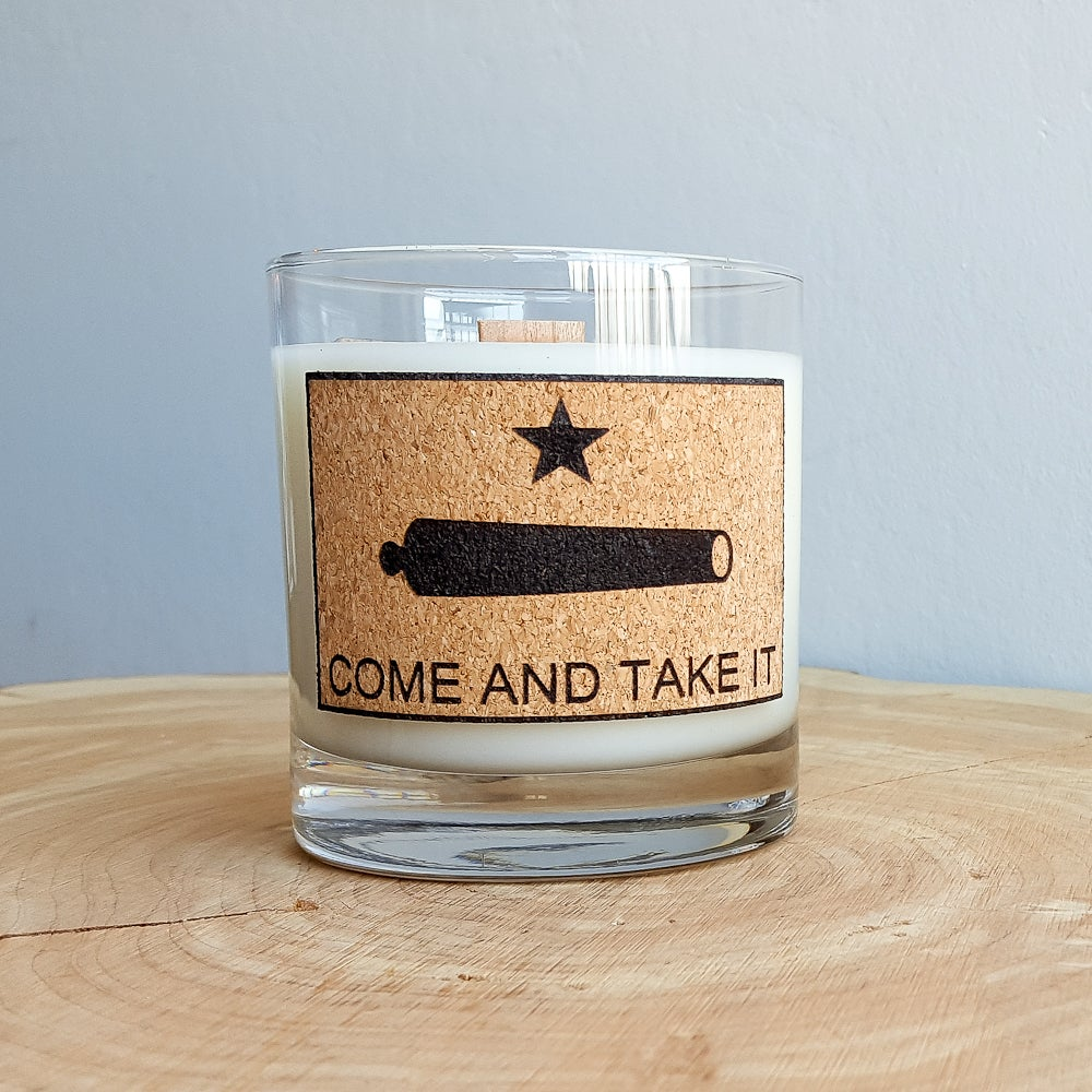 "Image of Whiskey Glass Man Candle - ""Come and Take It"" - Gunpowder Scent - Manly Natural Soy Candle"