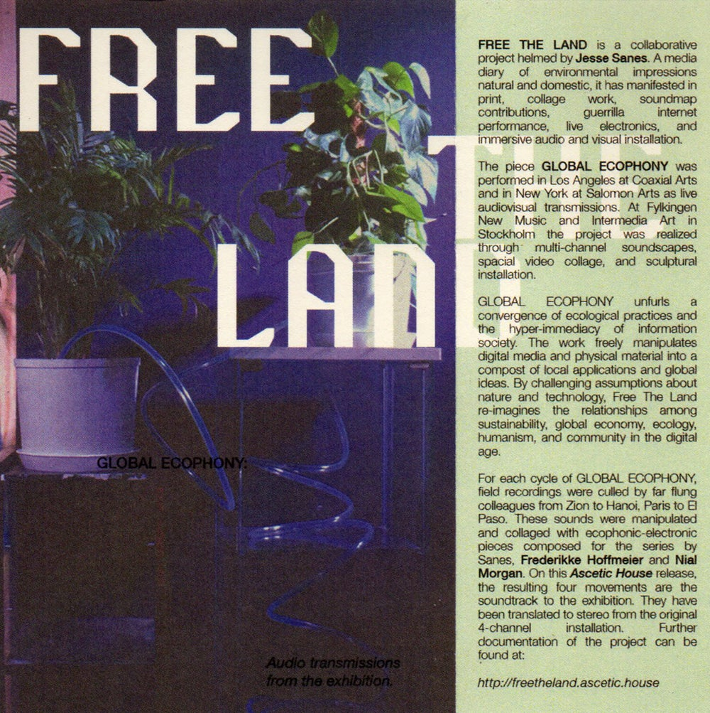 """Image of Free The Land """"Global Ecophony: Audio Transmissions from the Exhibition"""" CS"""