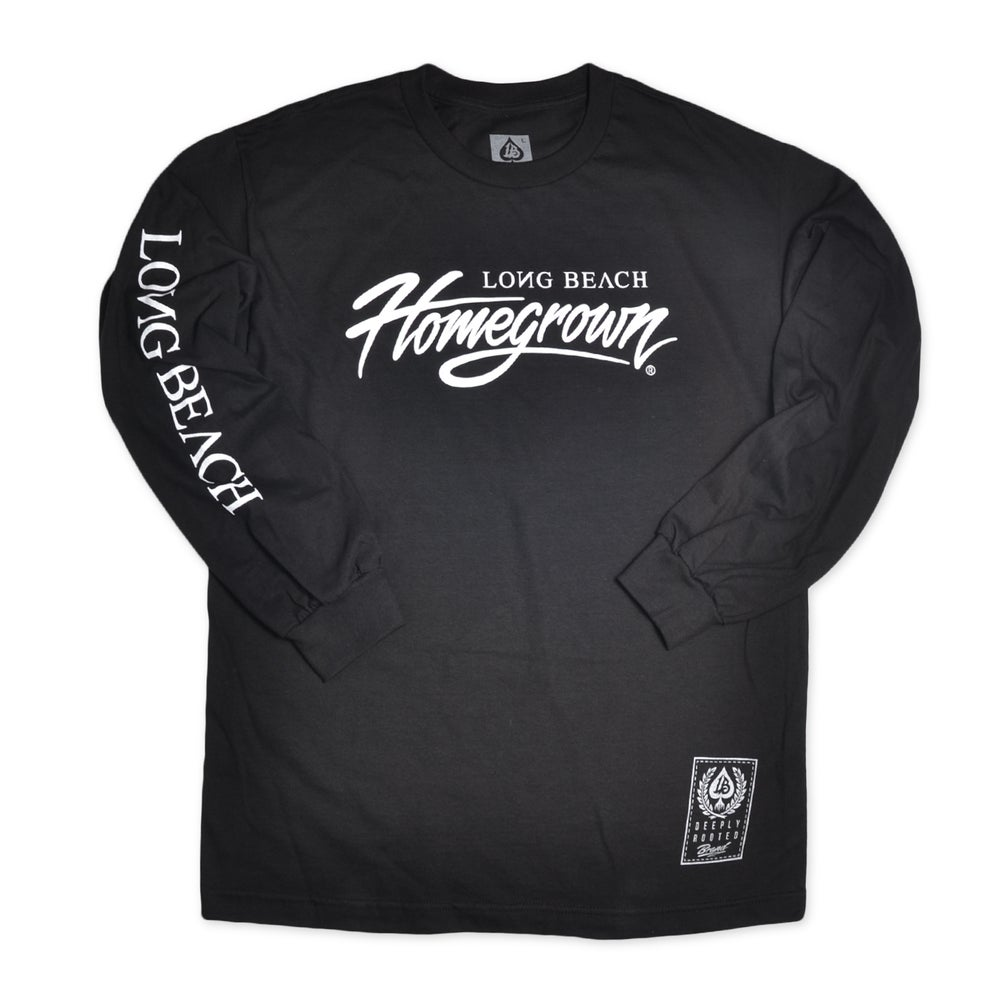Image of HOMEGROWN SCRIPT BLACK LONG SLEEVE MENS TEE