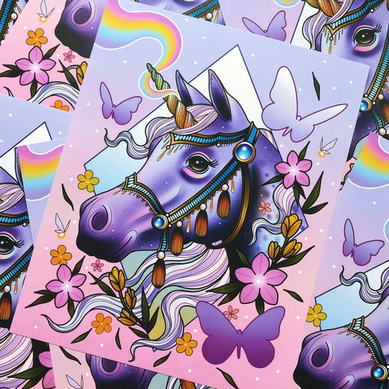 Image of 'Rainbow Unicorn' Print