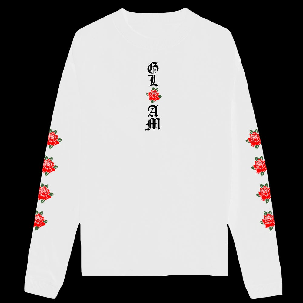 Image of WHITE GLAM ROSES LONG SLEEVE T SHIRT | EXCLUSIVE RELEASE