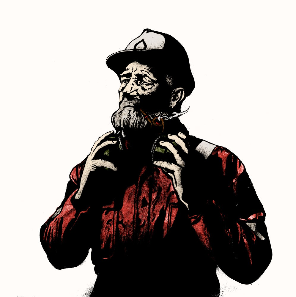 Image of Portrait of a pipe-smoking fisherman ~ Red Edition