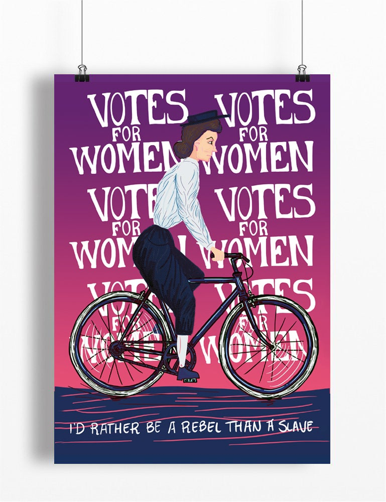 Image of 'Votes for Women' cycling print A4 - by Peter Swain