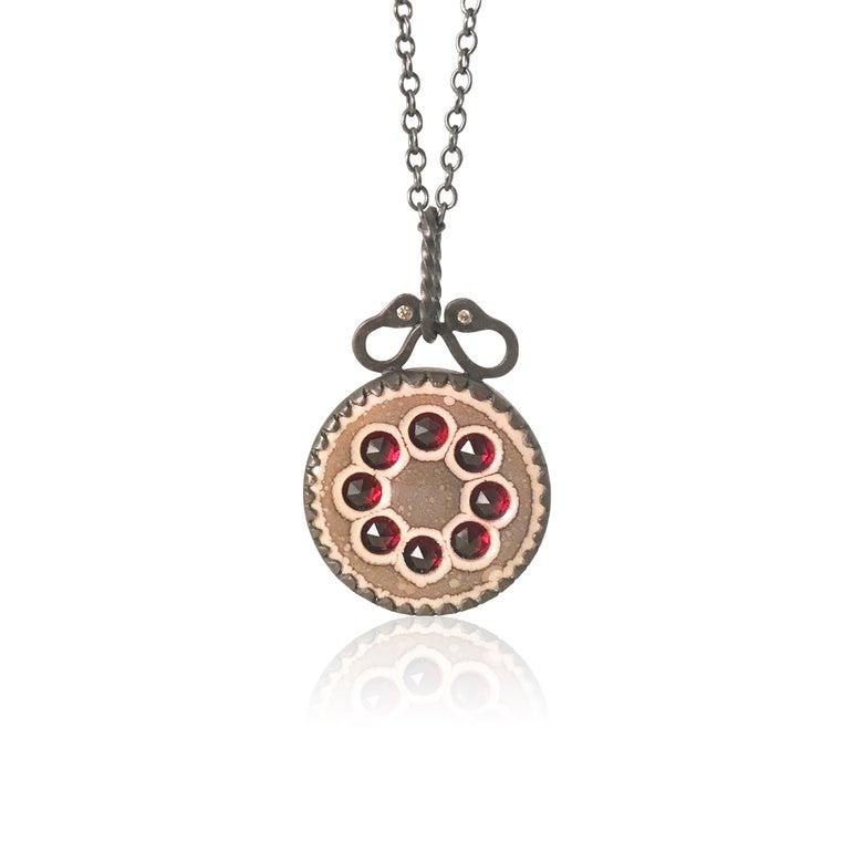 Image of rose-cut garnet wreath necklace