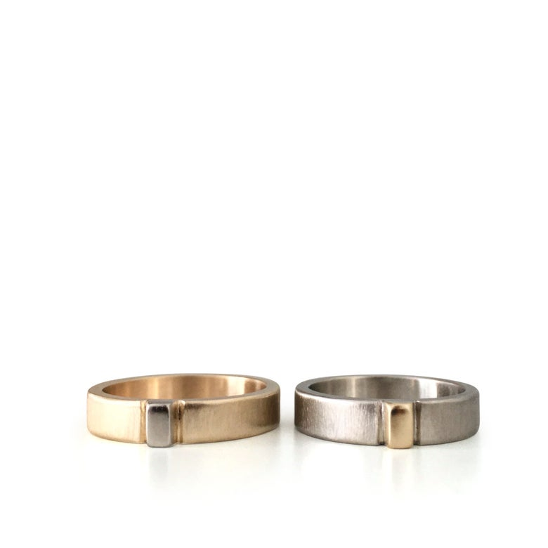 Image of uno band in recycled 14k white and yellow gold