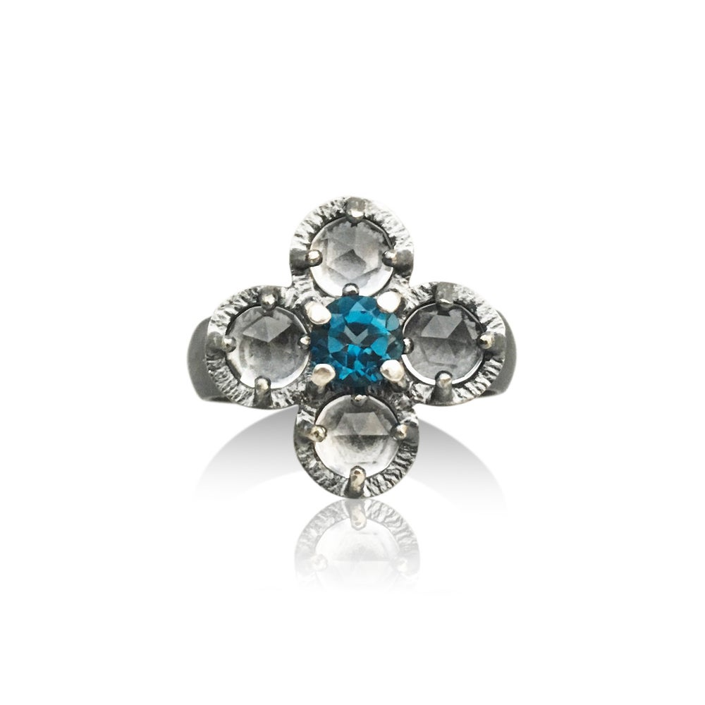 Image of juju flower ring in clear quartz and london blue topaz