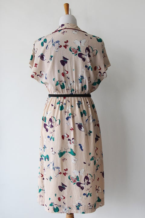 Image of Butterflies And Burgundy Trim Dress