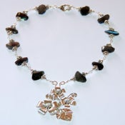 Image of Labradorite sterling silver handmade necklace, bracelet, earrings set