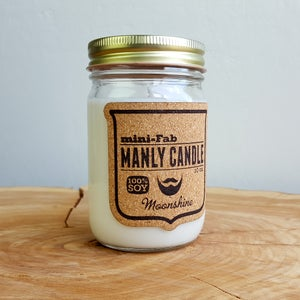 Image of Man Candle - Moonshine Scent - Manly Natural Soy Candle Hand Poured with Cotton Wick - Gifts for Men