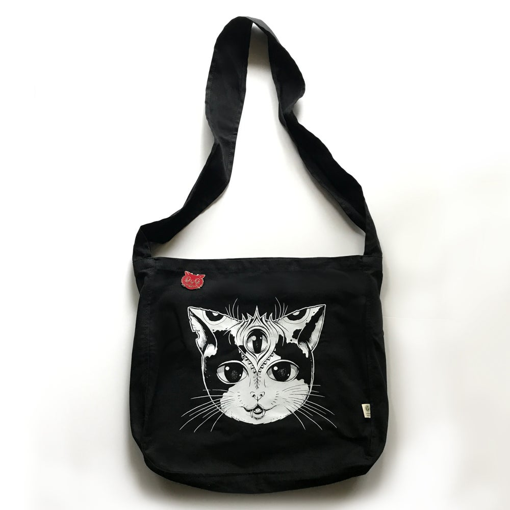Image of Friendly Cat Black Market Bag w/ Red Pin