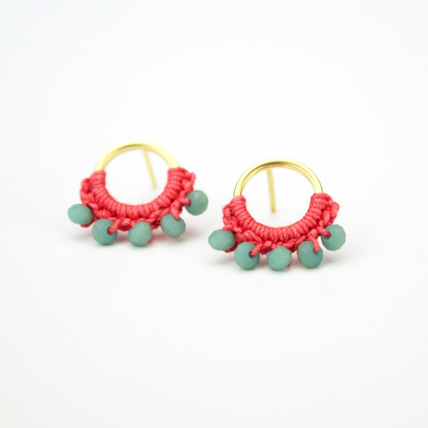 Image of Round Post Earrings (Coral Pink)
