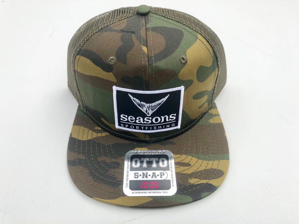 Image of SEASONS - CAMO / GREEN MESH SNAPBACK - TUNA TAIL