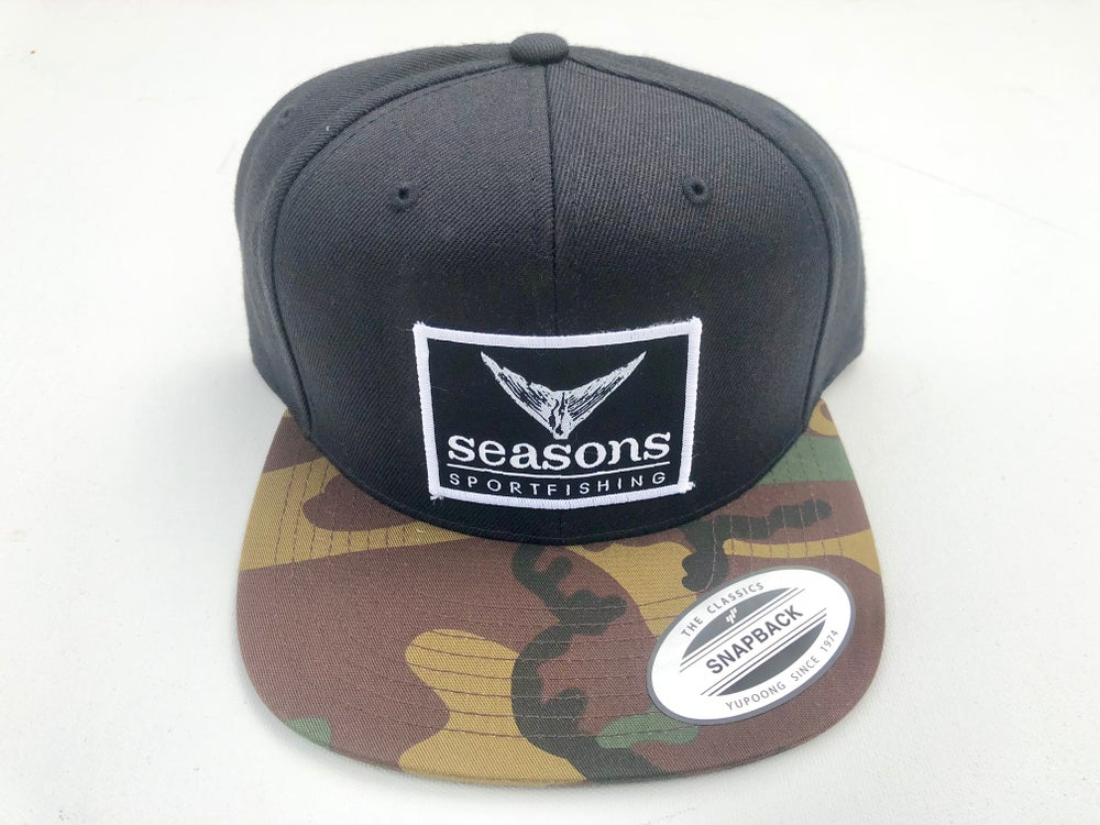 Image of SEASONS - BLACK / CAMO BILL SNAP BACK - TUNA TAIL