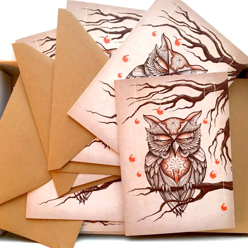 Image of Owl Christmas Card - Pack of 5