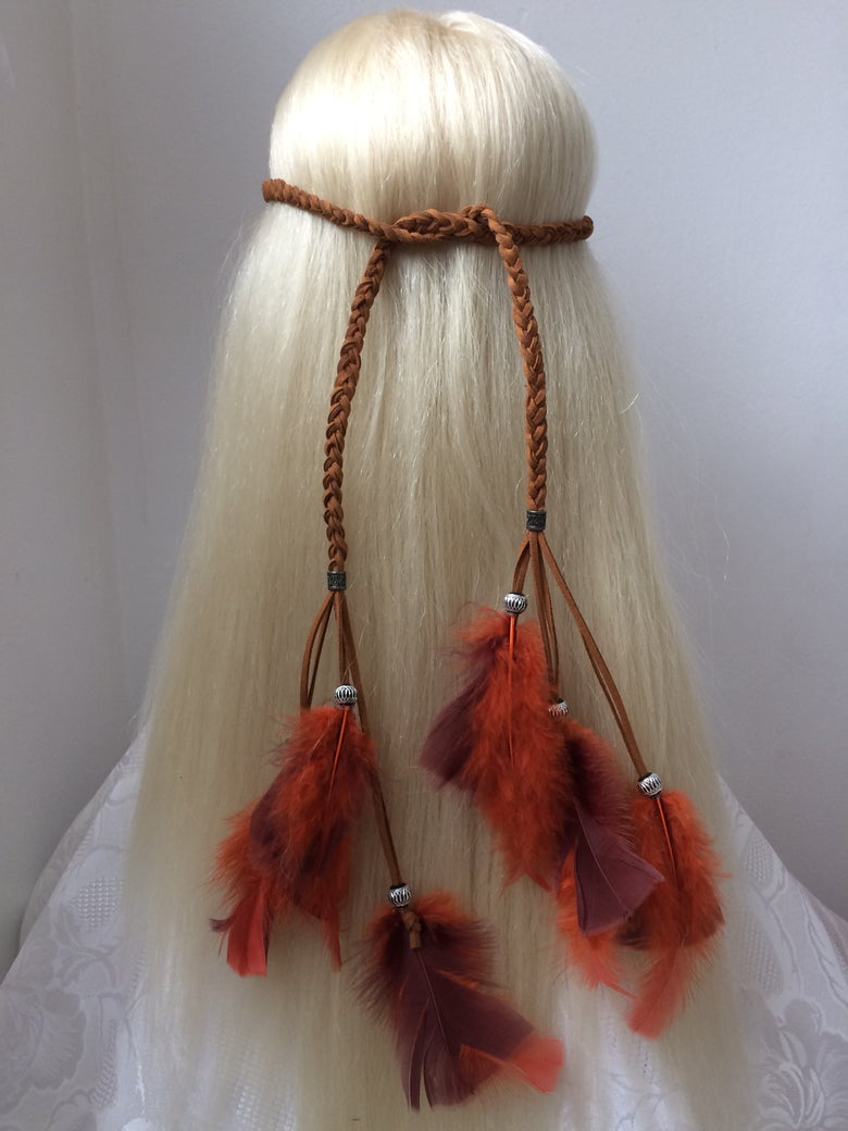 Image of Braided Faux Feather Head Tie / Brown