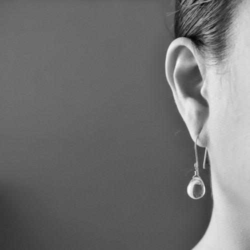Image of Pale purple glass drop earrings