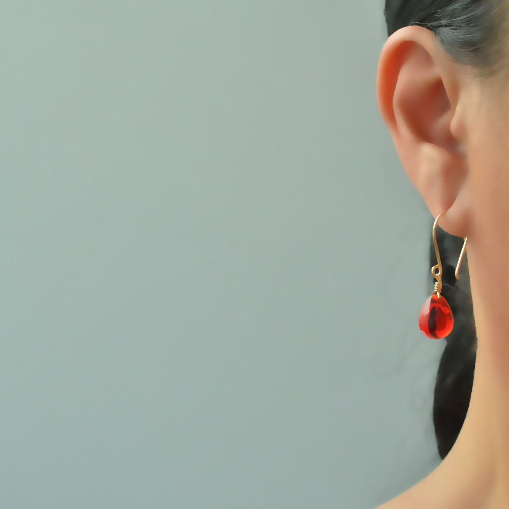 Image of Lipstick red glass drop earrings v2