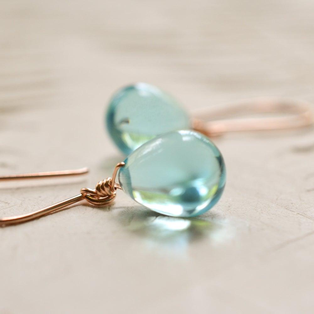 Image of Sky blue glass drop earrings