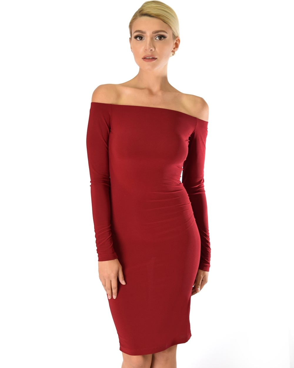 Image of Burgundy Long Sleeve Bodycon Dress