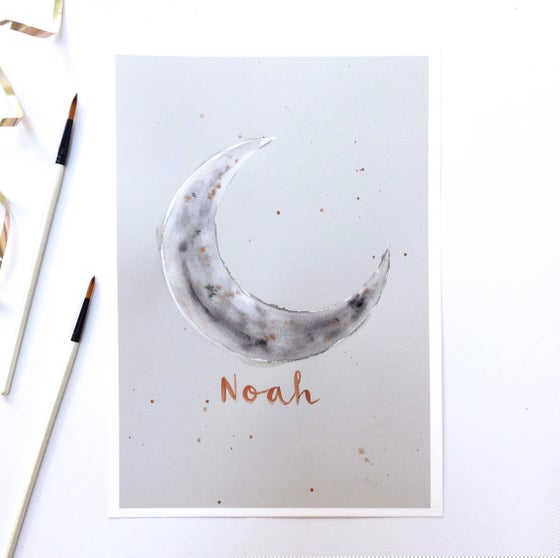 Image of Hand Finished Crescent Moon Print