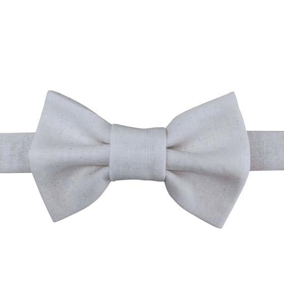 Image of crisp white linen bow tie