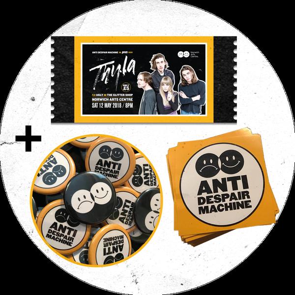 Image of THYLA gig ticket + badge + sticker