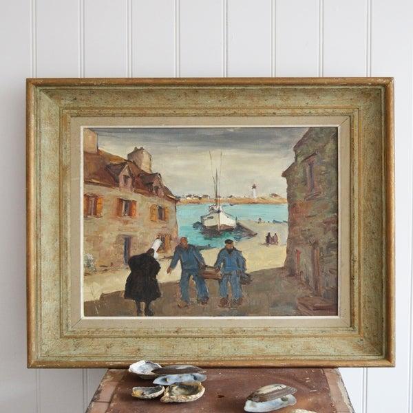 Image of Mid-century, Oil Painting, Breton Fishermen; Henri Tambour (1916-1986)