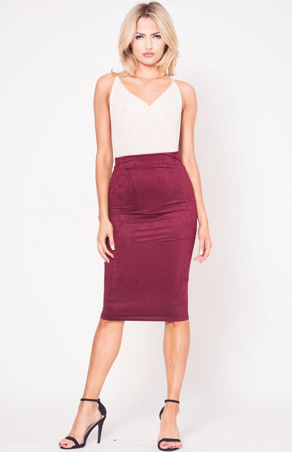 Image of Wine High Waist Suede Midi Skirt